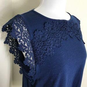 Liz Claiborne Navy Lace Shirt